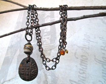 BAQUE Rustic Pendant Necklace / Industrial Chic / Distressed Metal Chain