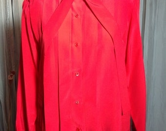 1990s Red Silk Pleated Blouse w/Necktie & Shoulder-Pads