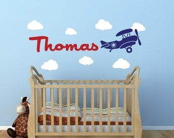 Personalized Airplane Clouds Name Decal - Childrens Room Decor Kids Room Boy's Name Girl's Name Vinyl Wall Decal Airplanes With Clouds