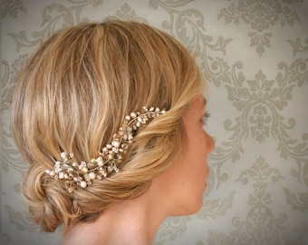Mini Silver Crystal and Pearl Hair Vine. Bridal Hair Vine Accessory. Wedding Hair Adornment. Veil Alternative. Style No.102