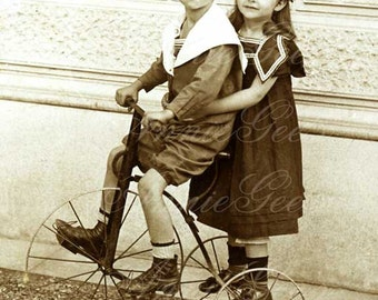 Cute Girl and Boy on Antique Tricycle - Instant Digital Download Photo D148A