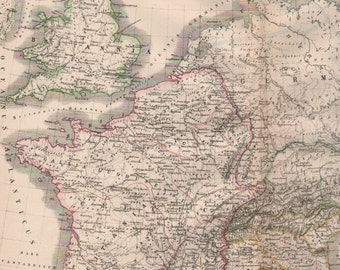 Map of Britain, 1800s Antique Map, Ancient Britain, Hand Colored Map, Map of France, German Map, Latin Map, Kiepert Map