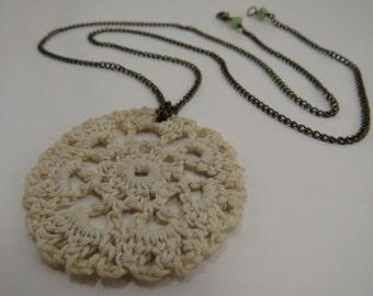 Crochet Doily Necklace - READY TO SHIP - Lacy Doily Jewelry - Handmade Crochet Jewelry - Crochet Motif