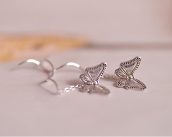 925 Sterling Silver Retro Butterfly Thread Earrings 286