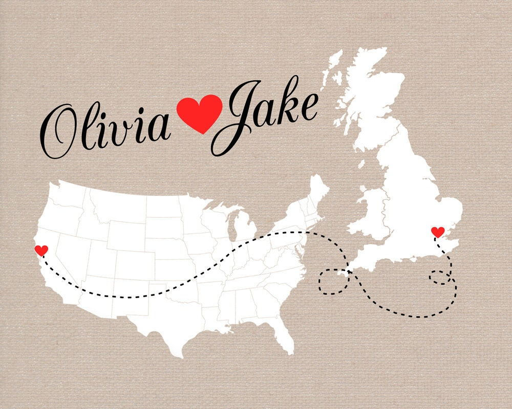 Linen Wedding Anniversary Gifts: Long Distance Relationship Gift, Custom Maps, Wedding Gift