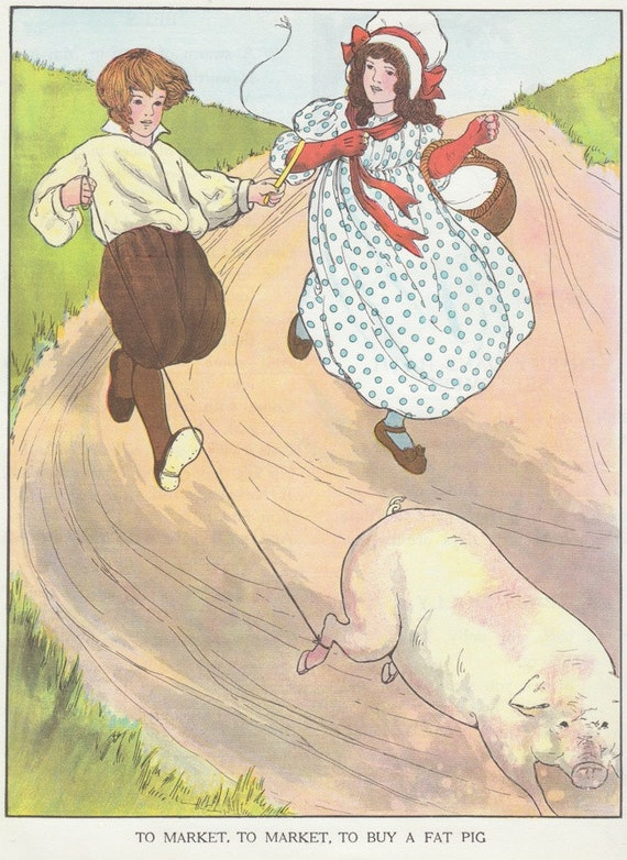 Vintage Nursery Rhyme Wall Art To Market To Market Mother