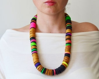 Long statement necklace/African necklace/Tribal Necklace/Gold statement/Ethnic Necklace/African clothing/Chunky necklace/African fashion