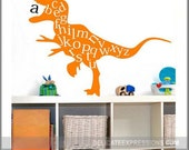 Alphabet Wall Decal, ABC Playroom Wall Decal, Dinosaur Wall Decal Vinyl Lettering, Childrens Decor Vinyl Decal, Kids Vinyl Wall Art