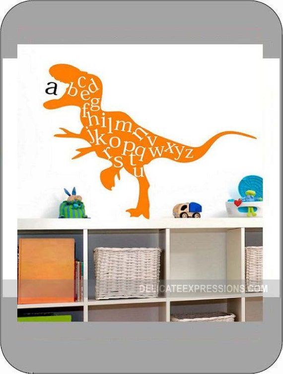 Alphabet wall decal abc playroom wall decal dinosaur wall for Nice ideas dinosaur decals for walls
