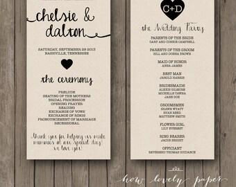 Printable Wedding Program - the Ella Collection