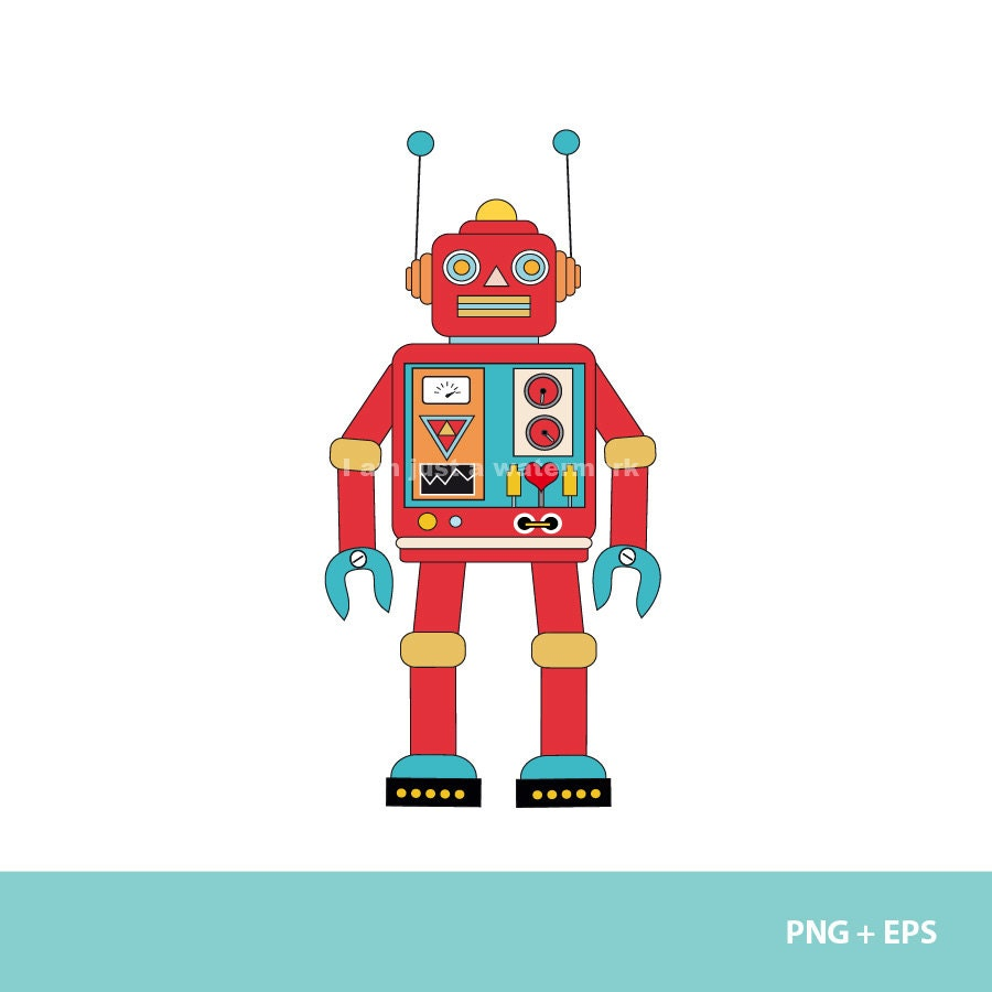 Toy Robot Clipart Clipart retro robot // png +