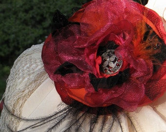 red black & orange Flower Hair Clip Broach with Metal Button and Feathers