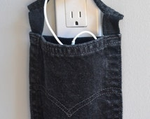 Cell phone charging station, black Levi's wall charger for iPhone 5S, 5C, iPod, phone charging pouch, cell phone charger, smartphone