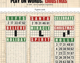 "Digital Vintage Christmas bingo cards / game cards / retro ephemera cards / 5"" by 7"" and 3.5"" by 5"" / downloadable / printable"