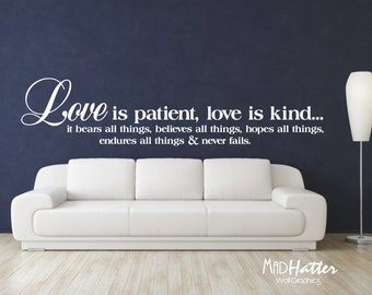 """LOVE is PATIENT Wall Decal 16"""" x 72"""""""