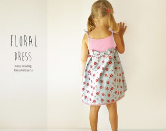Floral Girls DRESS Pattern with big bow -  children PDF Sewing pattern - 1 year to 8 years