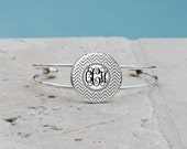 Gray Chevron Monogram Pendant Necklace, Gray Chevron Monogram Cuff Bangle Bracelet, Gray Chevron Monogram, Gifts for her