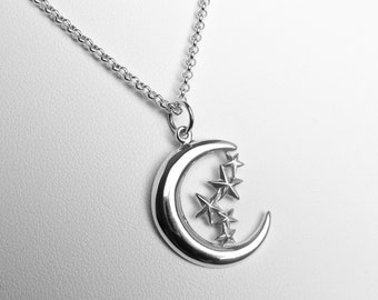 Sterling Silver Crescent Moon and Stars Necklace, Sterling Silver Moon Necklace, Crescent Moon Necklace