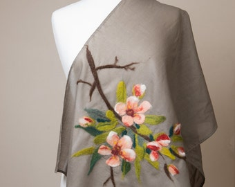 Sale 40% Off Nuno felted scarf, Cotton scarf, apple blosom, cherry blosom,khaki, peach, pink, orange, brown green leaves