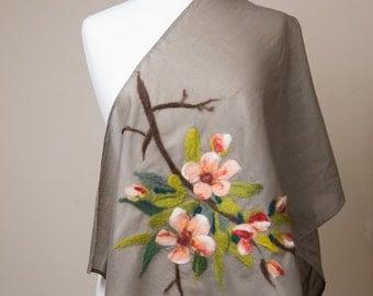 Nuno felted scarf, Cotton scarf, apple blosom, cherry blosom,khaki, peach, pink, orange, brown green leaves