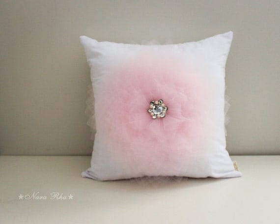 White Pillow Cover Light Pink Flower on White Pillow by NaraRha