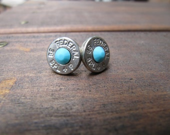 Bullet Jewelry - 38 Special Bullet Earrings with Turquoise Crystal Accents - Thin Cut - Country Jewelry - 2nd amendment - Bridesmaid Earring