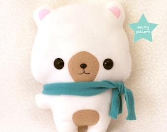"PDF sewing pattern - Cute Bear stuffed animal - easy beginner plush toy kawaii DIY anime character 13"""