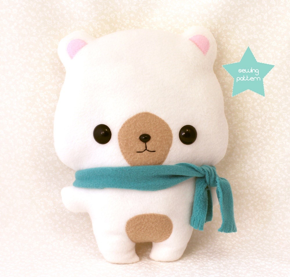 Pdf sewing pattern cute bear stuffed animal easy beginner for Sewing templates for stuffed animals