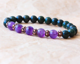 Healing Bracelet, Wrist Mala, Tibetan Mala Bracelet, Bloodstone & Amethyst For Healing, Detox, Calm Mind and Spirituality