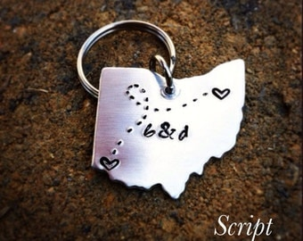 ANY STATE, USA, Canada, Australia with Custom Phrase - Long Distance Relationship Keychain