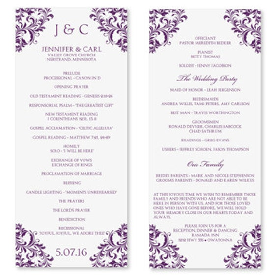Impeccable image within free printable wedding program templates word