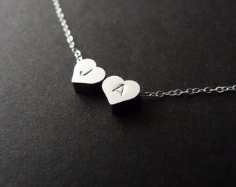 2 hearts necklace, couple initials jewelry, mom and children monogram, sterling silver gift