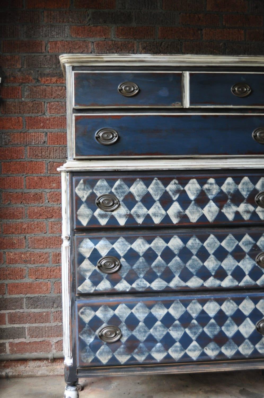 Antique Tall Boy Dresser Using Coast Blue White Black Homemade