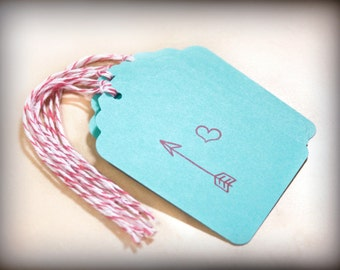Heart with Arrow Valentines Tag Set 6 Blank holiday gift present tag love