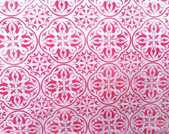 Pink Medallion Fabric- Luna II Filigree Medallions by Maywood Studio Fabrics 7836 Pink - 1/2 yard