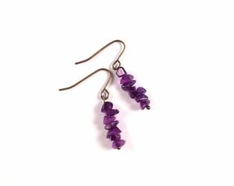 Genuine Amethyst Earrings - Minimalist Earrings, Minimal Earrings, Gemstone Earrings, Purple Earrings, Antique Brass Earrings, Gift for Her
