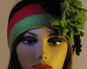 Rasta Crochet Skullcap Hat with Leaves
