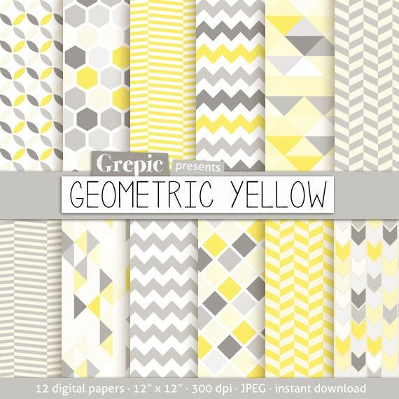 Geometric digital paper: GEOMETRIC YELLOW digital paper by Grepic