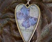 Heart Pendant With Lavender and Blue Butterfly, Necklace With Chain