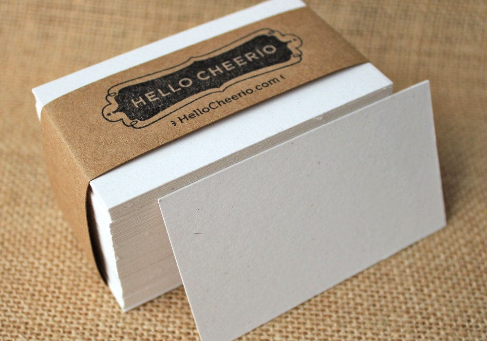 Thick Speckled White Blank Business Cards Set of by