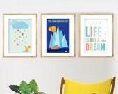Wall Art Sale, Set 3XA4, Pick 3 Designs, Nursery art, Mid Century, Retro posters, Scandinavian Design