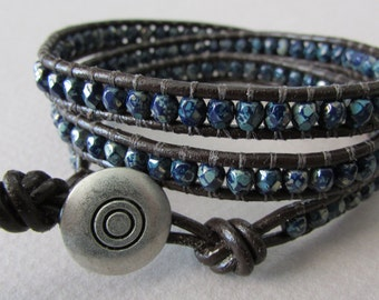 Navy Blue Picasso Czech Glass with Brown Leather Triple Wrap Bracelet