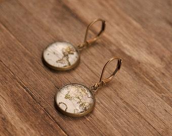 Vintage map earrings, dangle earrings, glass dome earrings, antique brass earrings, antique bronze earrings, antique map earrings