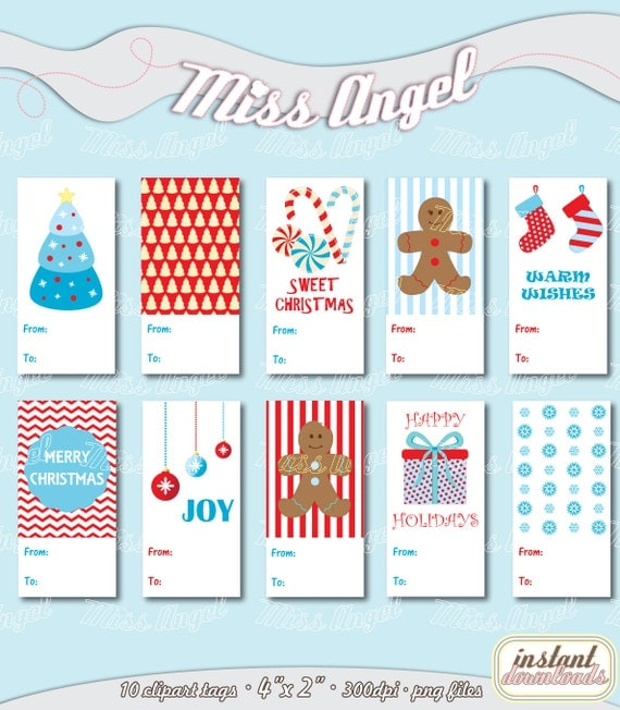 Christmas Tags Clip art Red Blue Merry Christmas printable