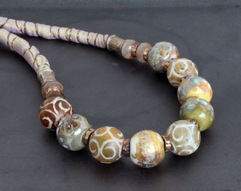 Artisan lampwork and gemstone beads necklace with silk / Earth tones and gold / Organic design / Rustic necklace / One of a kind