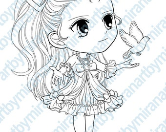 Digital Digi Stamps, Big Eye Doll Coloring Page, Girl with Dove, Coloring for Children,  Instant Download Digi Stamp, Line Art for Card