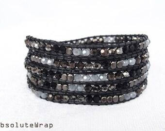 Black gray crystal wrap bracelet with black metal beads on black polyester cord, black wrap bracelet