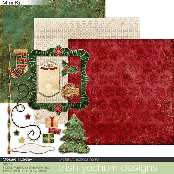 Christmas Clipart Digital Scrapbooking Printable Holiday Kit