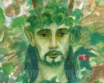 "Green Man Original Pagan Art Watercolor Painting Fantasy Nature Cerenuos / Greenman~ Unframed - 7"" x almost 9"""