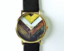Original Freeforme Wood Chevron Watch, Vintage Style Leather Watch, Women Watches, Unisex Watch, Boyfriend Watch, Men's Watch ,Black,